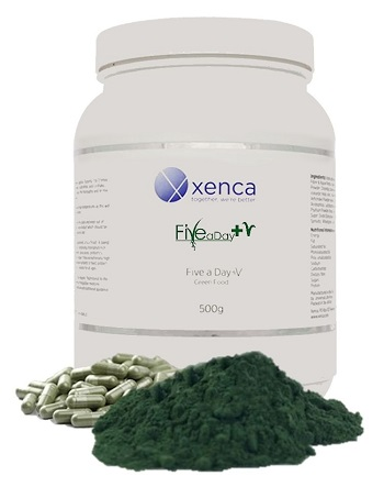 Tub of Five a Day super green food with powder and capsules piled up in front
